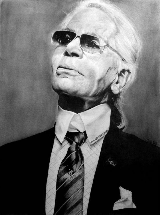 Fonds d'écran Art - Crayon Portraits KARL LAGERFELD