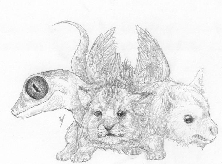 Fonds d'écran Art - Crayon Fantasy - Créatures Jeune Chimère