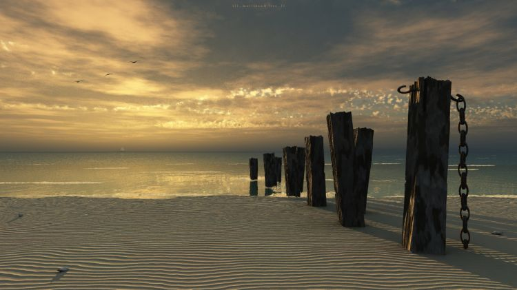 Wallpapers Digital Art 3D - Vue Plage et pieux