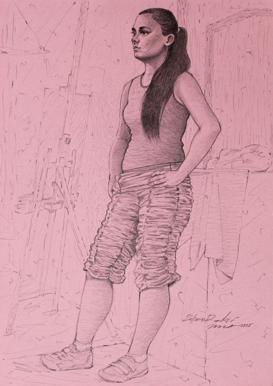 Fonds d'écran Art - Crayon Etudes Standing model vx