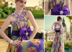 Objets Grande fleur tour de taille imprimé robes de soirée sexy