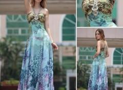 Objets Licol imprimé mousseline de soie élégant robe pour petite fête de soirée