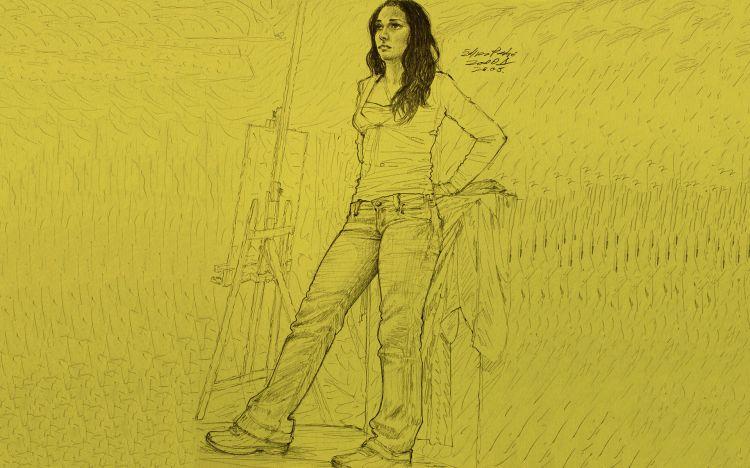 Fonds d'écran Art - Crayon Femmes - Féminité School Girl Model