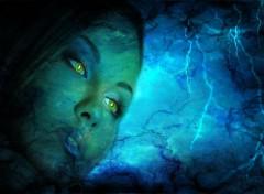 Art - Numérique visage bleue electrique