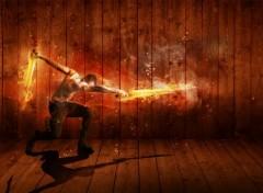Digital Art Homme avec épee en feu