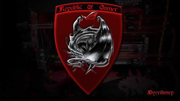 Fonds d'écran Informatique Asus Républic of gamer logo dragon