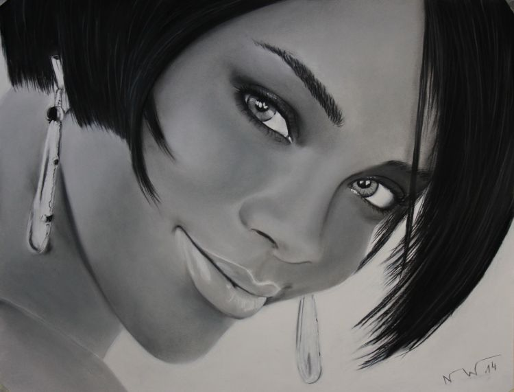 Wallpapers Art - Pencil Portraits Rihanna Pastels and charcoals