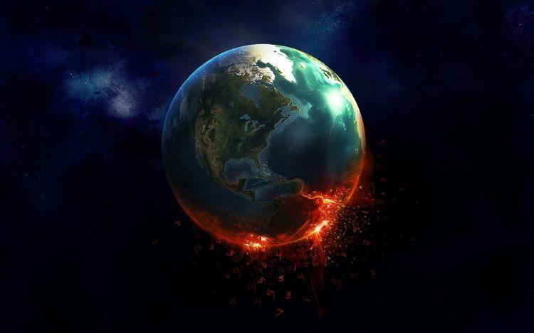 Wallpapers Digital Art Space - Universe Burning Earth