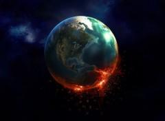 Digital Art Burning Earth