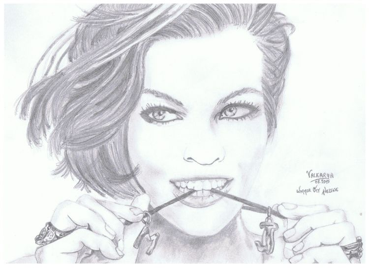 Wallpapers Art - Pencil Portraits Milla Jovovich