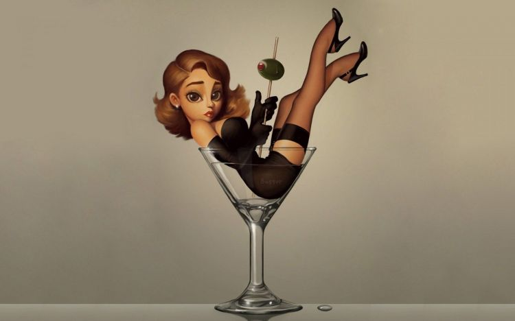 Wallpapers Digital Art Women - Femininity Alcohol_sexy_babe_legs_drink_cartoon