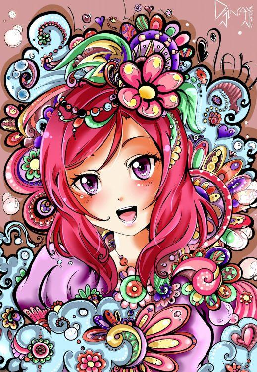 Fonds d'écran Manga Love Live! School Idol Project Maki ! Version couleur