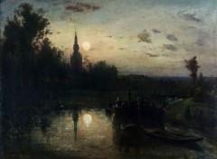 Art - Peinture Clair de lune à Overschie (environ de Rotterdam) - 1855 - Johan Bartold Jongkind