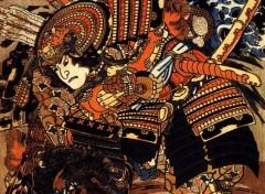 Art - Peinture Kagehisa et Yoshitada luttant - XIXe siècle - Utagawa Kuniyoshi
