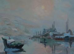 Art - Peinture La Seine et l'île Lacroix en hiver - 1893 - Albert Lebourg