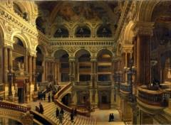 Art - Peinture L'Escalier de l'Opéra - vers 1880 - Victor Navlet