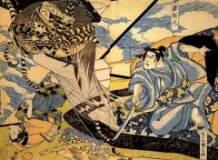 Art - Peinture Minamoto Yorimitsu combattant  le moine Tsuchi-gumo trnasformé en araignée - XIXe siècle - Utagawa Kuniyoshi