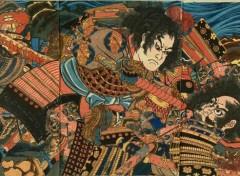 Art - Peinture Sanada Yoichi, Yoshihisa et Matano Goro Kagehisa - 1848 - Utagawa Kuniyoshi