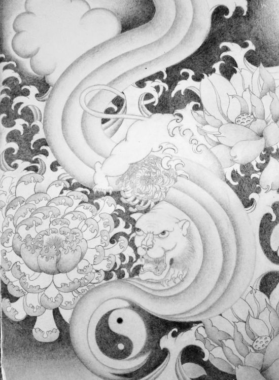 Wallpapers Art - Pencil Miscellaneous Tiger Japanese Style
