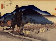 Art - Peinture Ishiyakushi (45e vue), Cinquante-trois relais du Tokaido - 1850-51 - Utagawa Hiroshige