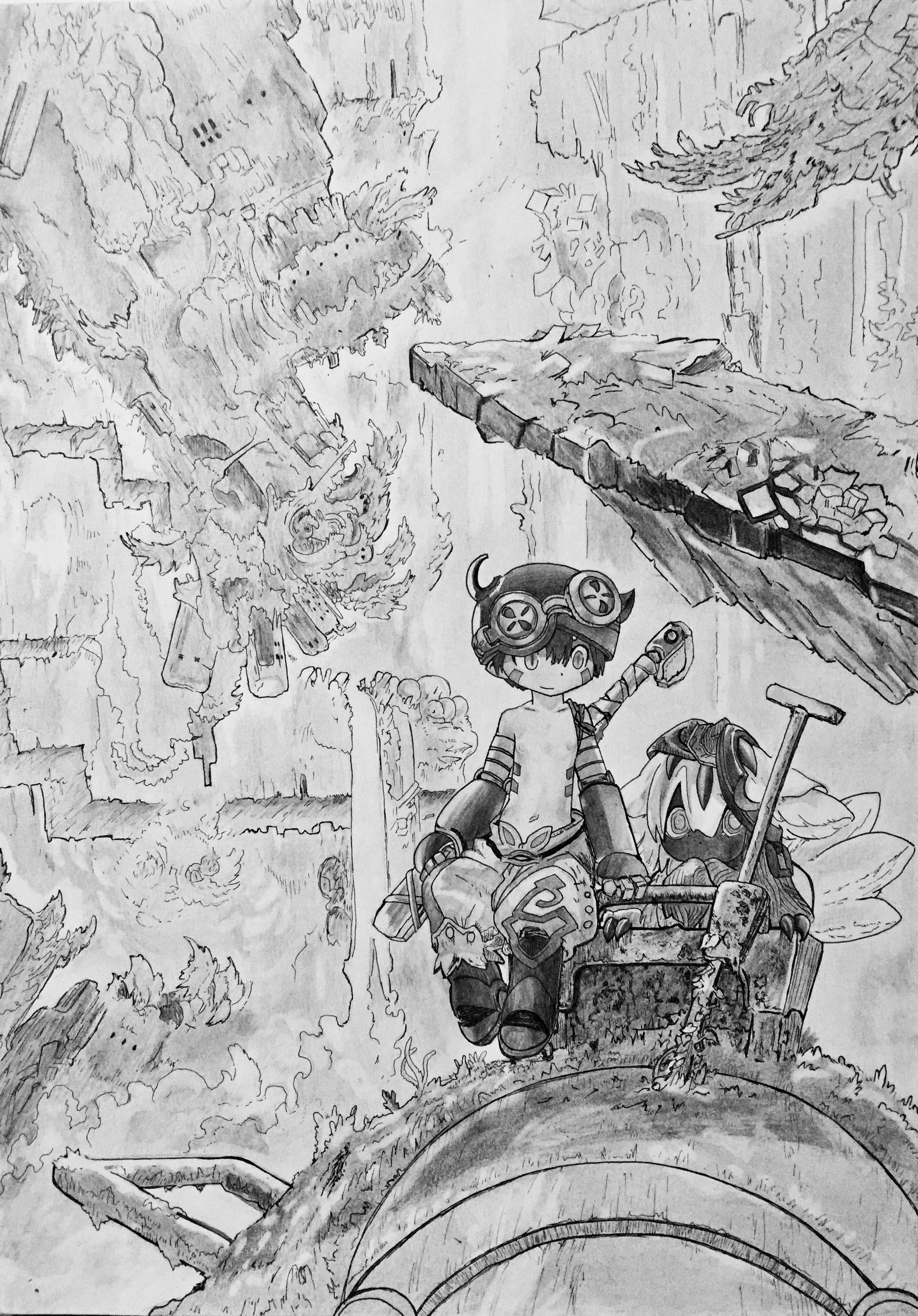 Wallpapers Art - Pencil Manga - Mix Made in Abyss