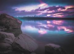 Nature Fantastic Sunset over Lake Tekapo, NZ