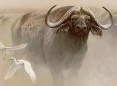 Art - Peinture Le buffle d'Afrique et les aigrettes