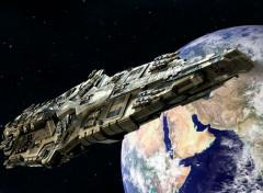 Fantasy and Science Fiction Vaisseau Pirate survolant la Terre