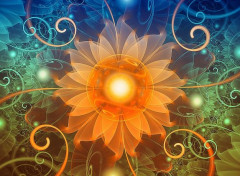 Art - Numérique Beautiful Tangerine Orange and Teal Lotus Fractals